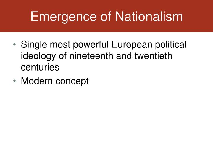 Emergence of Nationalism