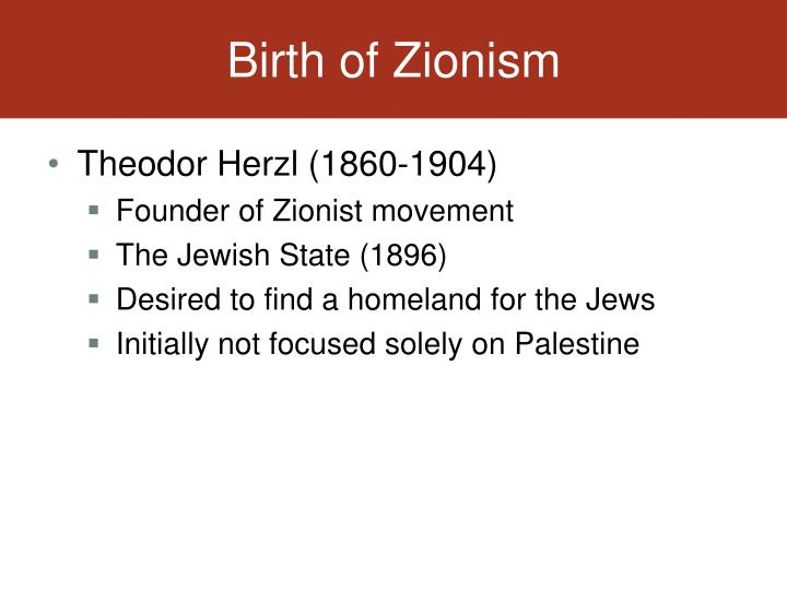Birth of Zionism