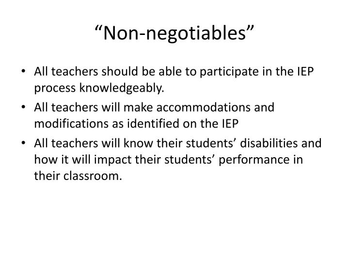 """""""Non-negotiables"""""""