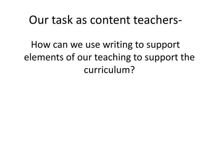 Our task as content teachers-