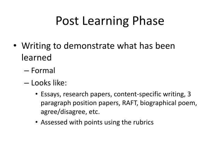 Post Learning Phase
