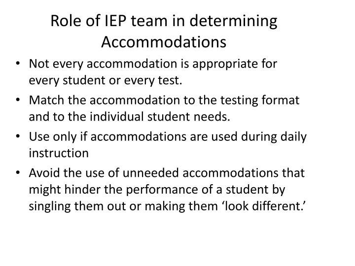 Role of IEP team in determining