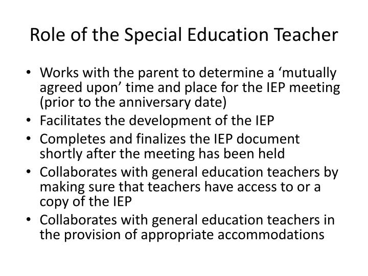 Role of the Special Education Teacher