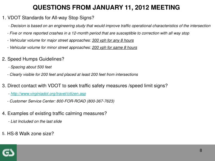 QUESTIONS FROM JANUARY 11, 2012 MEETING