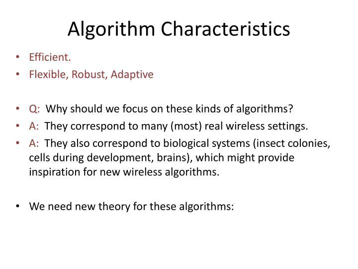 Algorithm Characteristics
