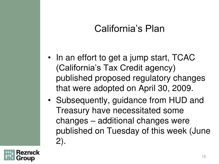 California's Plan