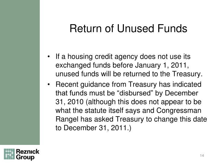 Return of Unused Funds