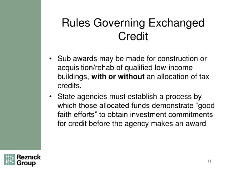 Rules Governing Exchanged Credit