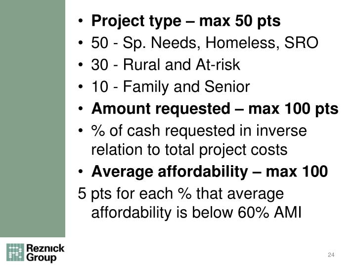 Project type – max 50 pts