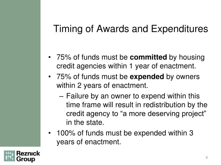 Timing of Awards and Expenditures