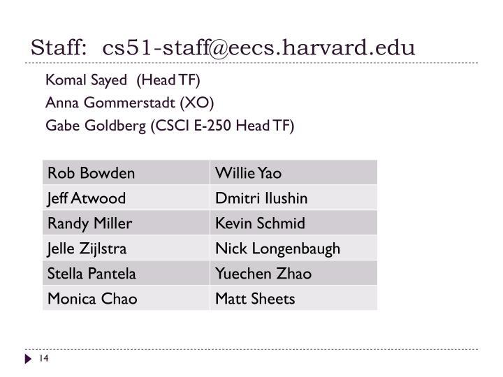 Staff:  cs51-staff@eecs.harvard.edu