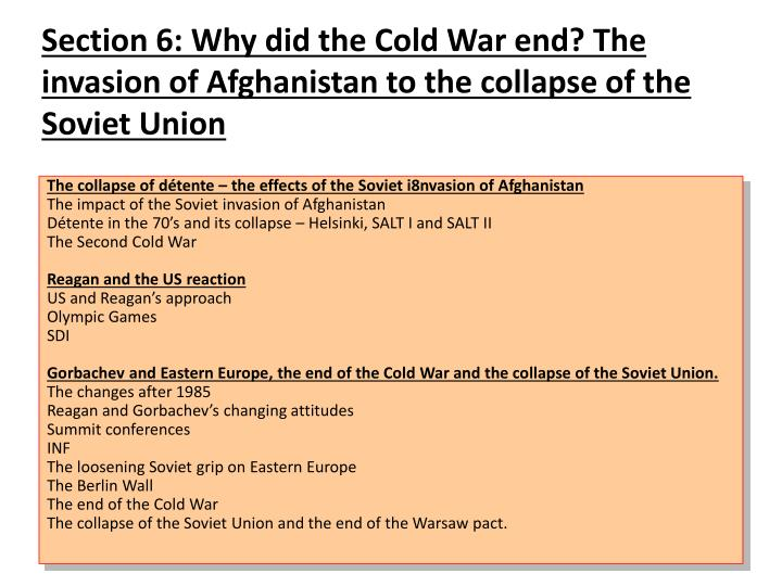 theories of why the cold war ended The end of the cold war—and why most experts failed to anticipate it—away from the field of ir to the more specific study undertaken in the west of the soviet system it goes on to argue that.