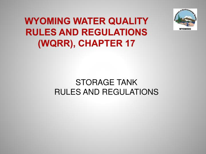 wyoming water quality rules and regulations wqrr chapter 17 n.