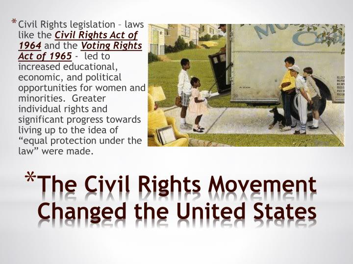why had the civil rights movement Civil rights: law and history the the quest for civil rights had moved out of the south and spread to the civil rights movement began marchs into white-only.