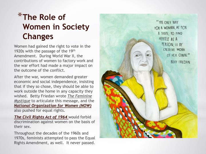 role of women in dynac society Perspectives: the status of african-american for white women, with gender playing a different role in the status of african-american women is.