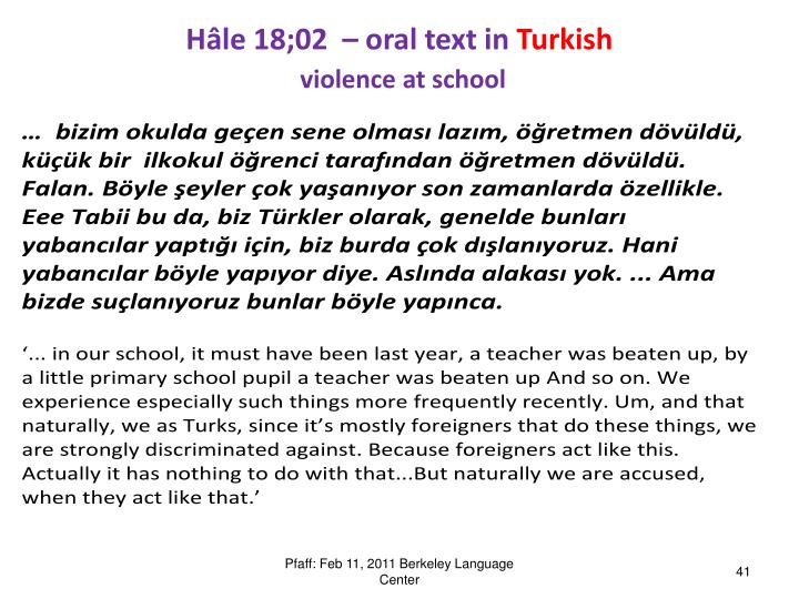 Hâle 18;02  – oral text in