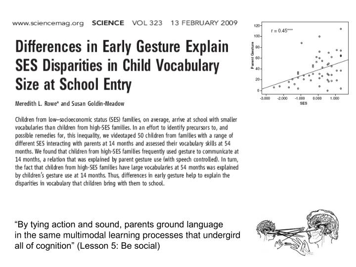 """By tying action and sound, parents ground language"