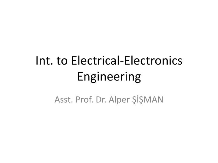 int to electrical electronics engineering n.