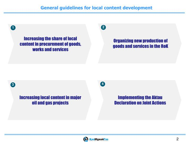 General guidelines for local content