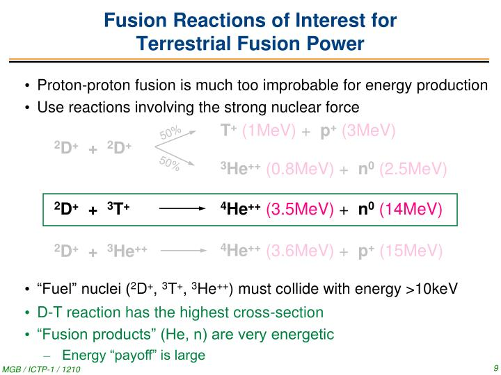 Fusion Reactions of Interest for