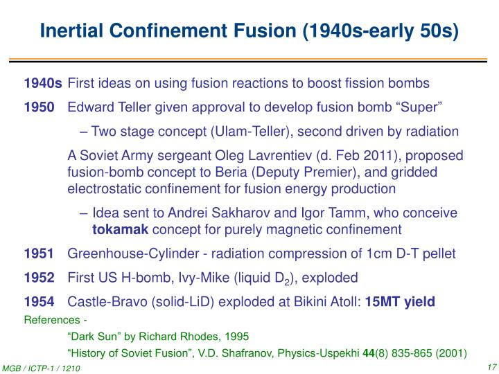 Inertial Confinement Fusion (1940s-early 50s)