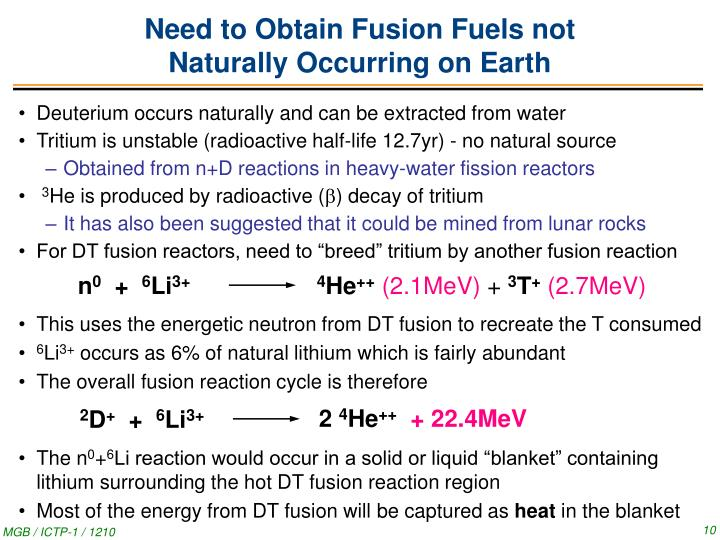 Need to Obtain Fusion Fuels not