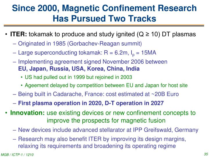 Since 2000, Magnetic Confinement Research