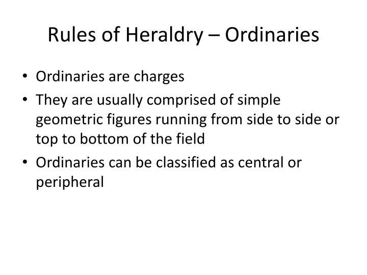 Rules of Heraldry – Ordinaries