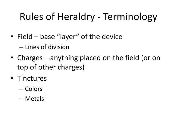 Rules of Heraldry - Terminology