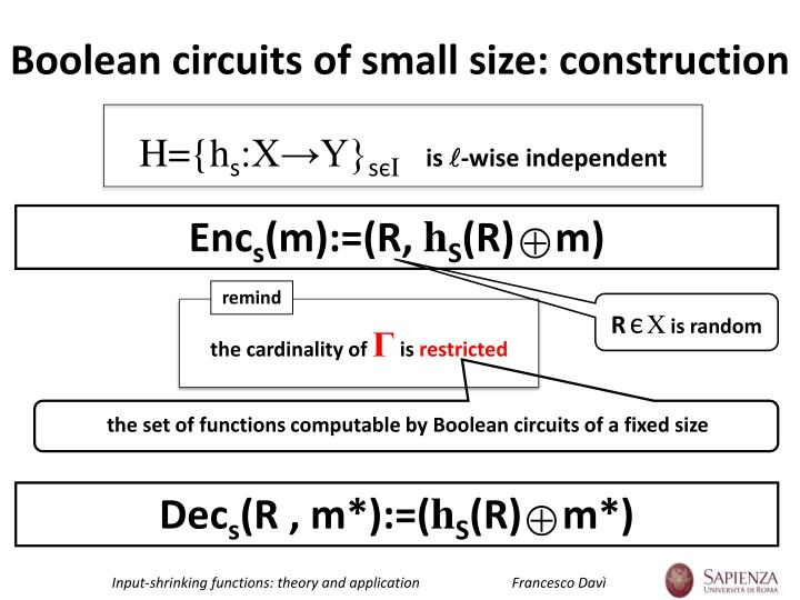 Boolean circuits of small size: construction