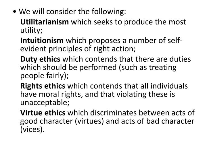 • We will consider the following: