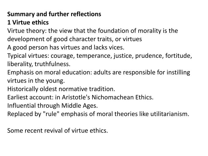 Summary and further reflections