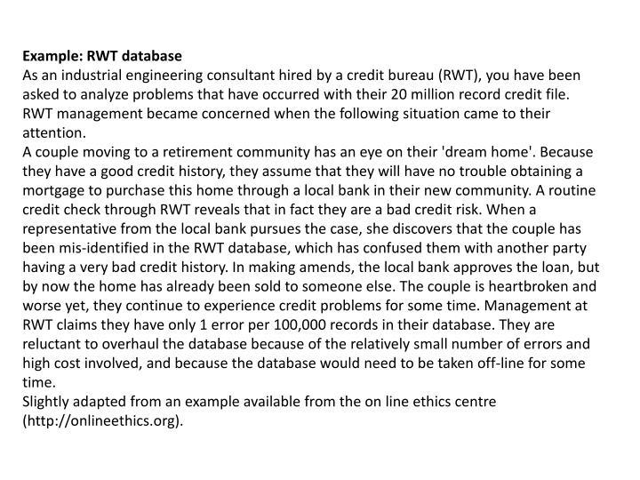Example: RWT database
