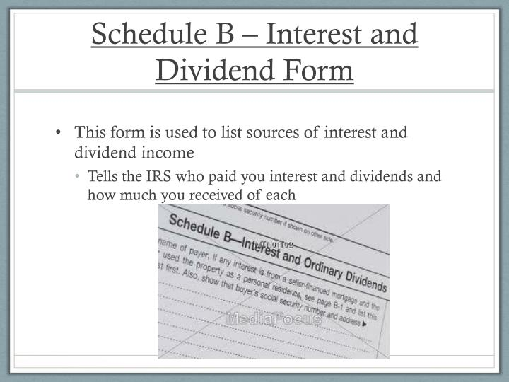 Schedule B – Interest and Dividend Form