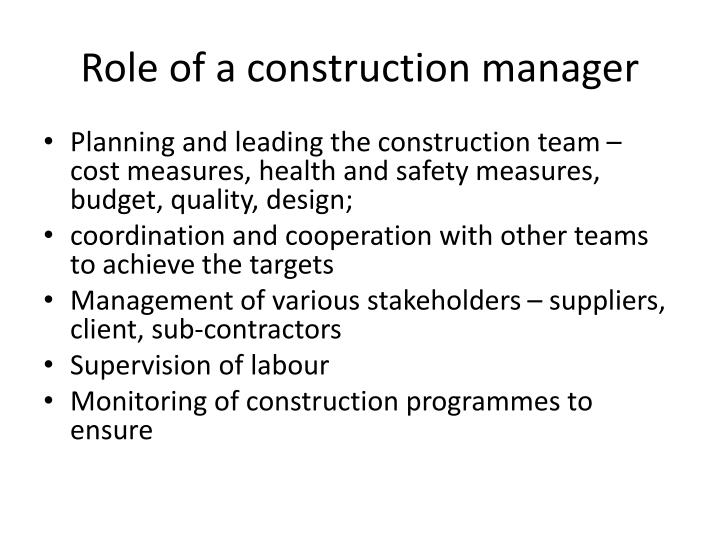 Role of a construction manager