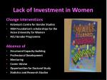lack of investment in women