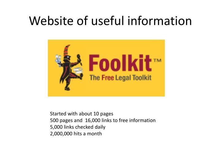 Website of useful information