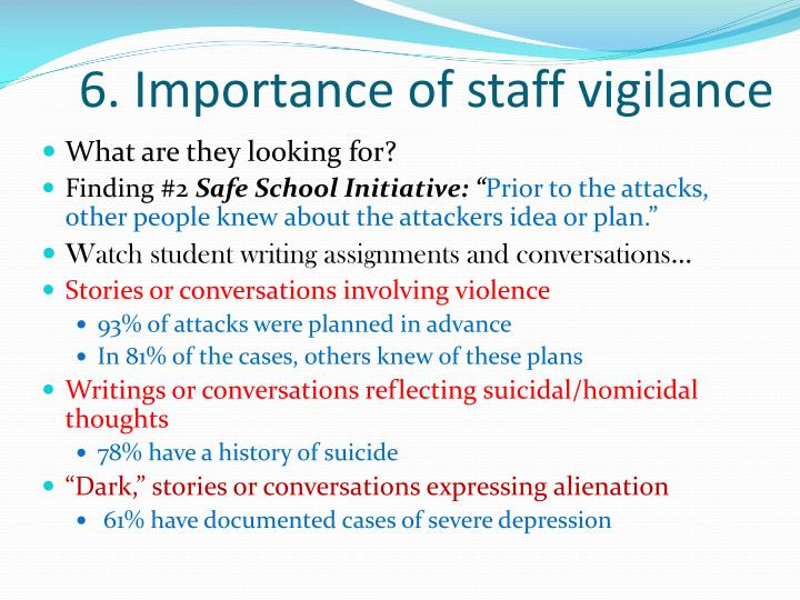 6. Importance of staff vigilance