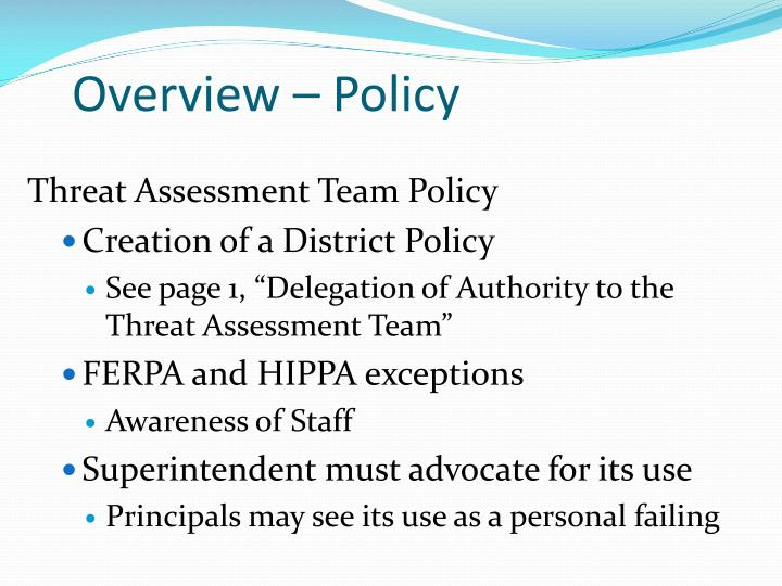 Overview – Policy