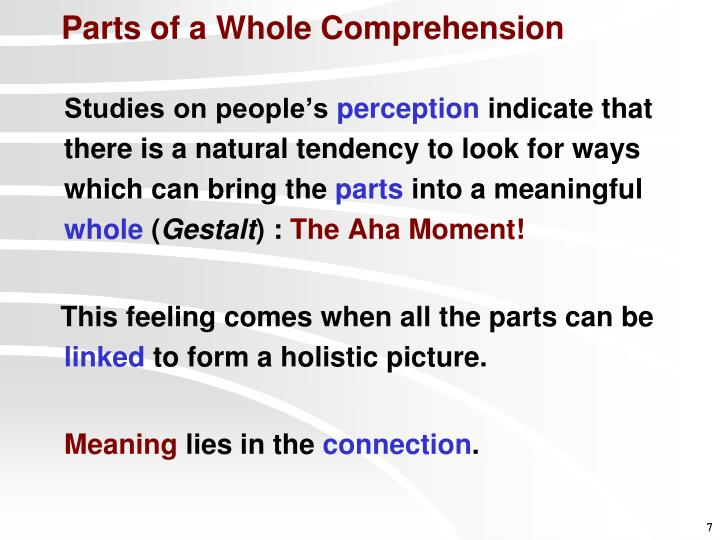 Parts of a Whole Comprehension
