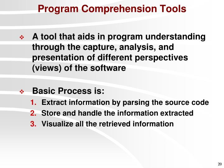 Program Comprehension Tools