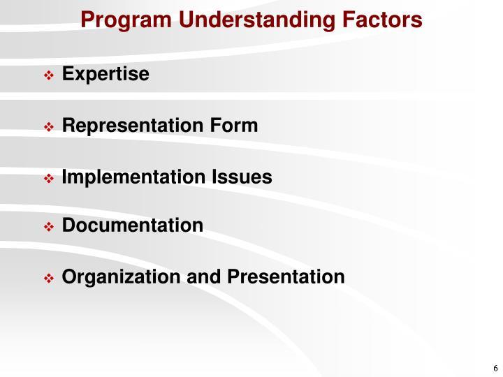 Program Understanding Factors