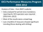 ocs performance measures program 2004 2012