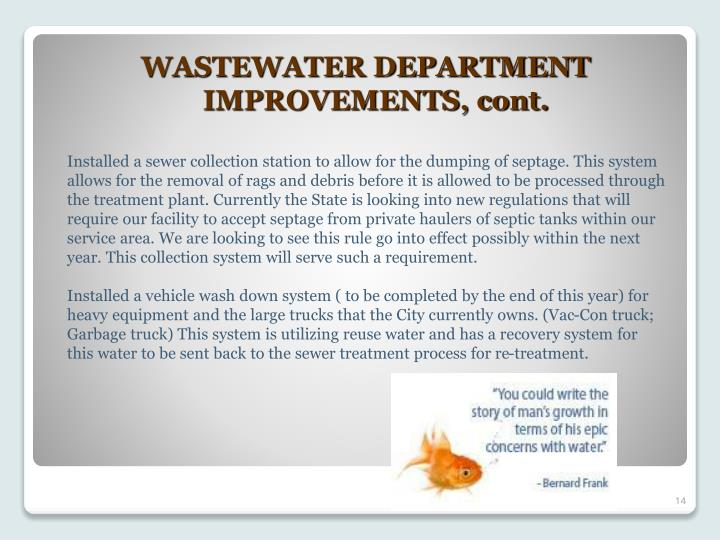 WASTEWATER DEPARTMENT IMPROVEMENTS, cont.