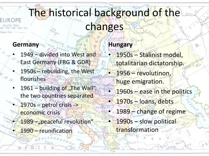 The historical background of the changes