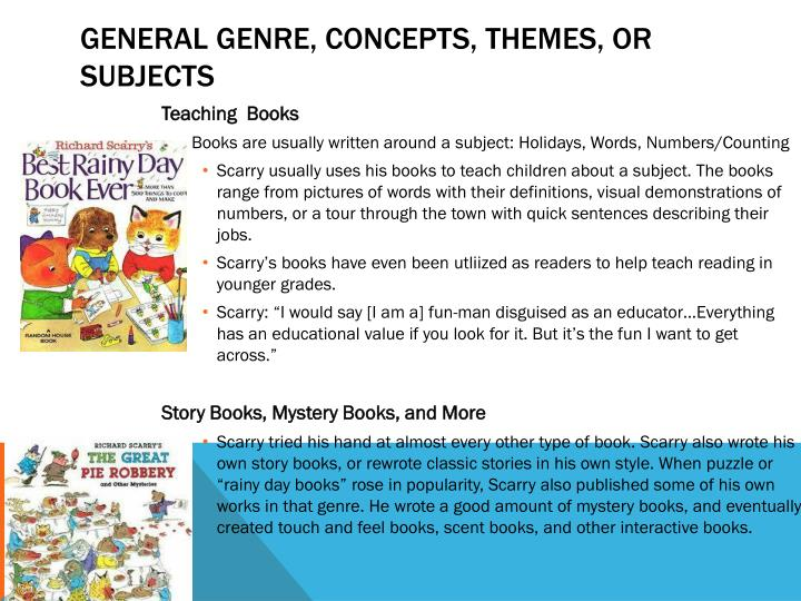 General Genre, concepts, themes, or Subjects