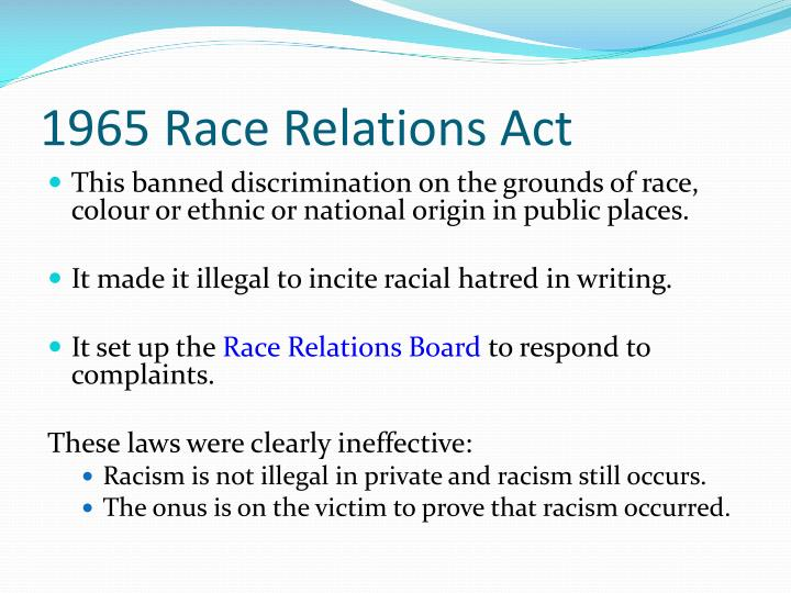 race relations act 1976 essay The remainder of the essay is organized as follows:  the race relations act  1976, otherwise known as rra makes it illegal to discriminate on the base of.