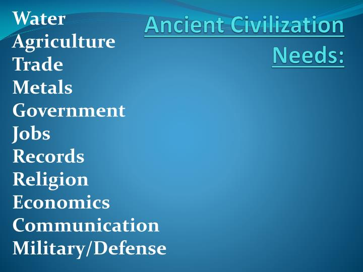 Ancient Civilization Needs:
