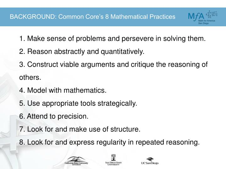 BACKGROUND: Common Core's 8 Mathematical Practices