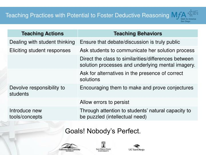 Teaching Practices with Potential to Foster Deductive Reasoning